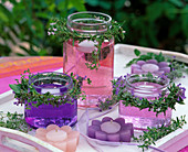 Herbal decoration with colored water