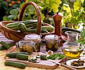 Cucurbita pepo / Zucchini einlegen als Antipasti, Allium / Knoblauch, Olivenöl,