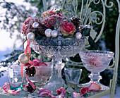 Gefrorene Rosa (Rosenblüten), rosa Pfeffer