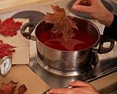 Rotes Wachs: Step 1/1. Acer (Ahornblätter) in geschmolzenes, rotes Wachs tauchen