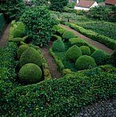 Formaler Garten mit Hecken, Formschnitt-Gehoelzen und Rosenbeet