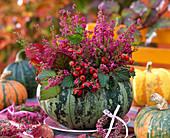 Cucurbita (Kürbis) als Vase ausgehöhlt, gefüllt mit Strauß