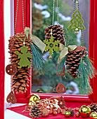 Pinus (Kiefernzapfen, Seidenkiefer) aufgehängt an Kordel