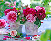 Metallgefäße mit historischen Rosen 'Tuscany' (dunkelrot)