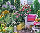 Terrasse mit Dahlien, Schmucklilie und Korbmöbeln