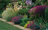 Rosa'LA Ville De BRUXELLES', STIPA BARBATA, Dianthus 'LACED MONARCH', Salvia X SUPERBA. THE Garden HOUSE, GLOS.