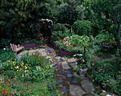 Garten mit Tulipa (Tulpen), Narcissus (Narzissen),