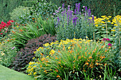 HERBACEOUS BORDER with CROCOSMIA, ACONITUM AND BERBERIS THUNBERGII at ARLEY HALL, CHESHIRE.