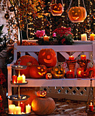 Beleuchteter Halloween-Balkon, Cucurbita / Kürbisse, Chrysanthemum, Cotoneaster