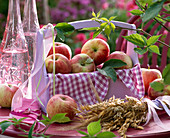 Malus in basket with towel, bundled cereal, ribbons, bottles