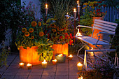 Terrasse im Kerzenschein