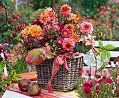 Strauß aus Dahlia (Dahlien), Rosa (Rosen), Hydrangea (Hortensien)
