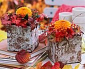 Strauß aus Aster (Herbstastern), Calluna (Besenheide), Hagebutten dekoriert