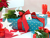 Geschenk - Karton dekoriert mit Pinus (Kiefer)