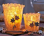 Windlichter beklebt mit Lunaria (Silbertaler)