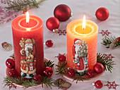 Kerzen mit Weihnachtsmannmotiven, Pseudotsuga (Douglasie)