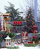 Weihnachtsbalkon : Picea 'Conica' (Zuckerhutfichte) geschmückt