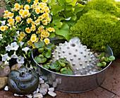 Kleines Wasserspiel : Zinkschale mit Keramikhalbkugel, Kies