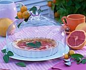 Grapefruit - Tarte unter Glashaube