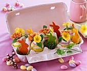 Primula (Primeln), Kerria (Kerrie) in geringelten Eiern, Moos und Filzhasen