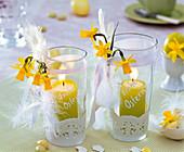 Windlichter mit Narcissus (Narzissen), Tortenspitze, Federn, Schleife