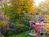 Reihenhausgarten mit Sitzgruppe und Herbstbeet