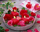 Rosa (Rosen) und Kerzen in Herzform in flacher Kuchenform