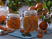 Orangen (Citrus sinensis) und Kumquat (Fortunella) eingelegt