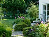 Schatten - Terrasse mit Holz-Liegestühlen, Buxus (Buchs - Hecken)