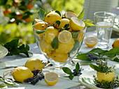 Zitronen - Tischdeko auf der Terrasse