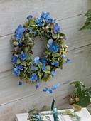 Kranz aus Hortensienblüten in Grün und Blau zum trocknen