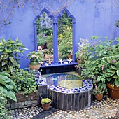 MOSAIC POND by ANN FRITH / MIRROR by SIMON ARNOLD WALLS PAINTED COBOLT Blue