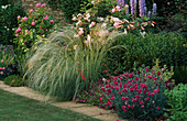 Delphinium'Blue Jade', Rosa'CELESTIAL', LILIUM REGALE, STIPA BARBATA & Dianthus'LACED MONARCH. THE Garden HSE,GLOS