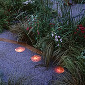 SPOTLIGHTS by Garden & Security LIGHTING SHINE UPWARDS THROUGH GRAVEL at THE EDGE of A PATHWAY IN THE NATURAL AND ORIENTAL Water GARDENS, HAMPTON Court 97