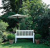 A PLACE TO SIT: SECLUDED White BENCH SEAT On LAWN with Box BALLS IN POTS EITHER SIDE. SHADY Garden Parasol IN B / G