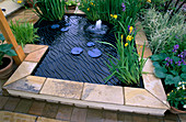POND with DECORATIVE Cover & SAFETY GUARD by IRONHORSE STUDIOS SURROUNDED by HOSTA SIEBOLDIANA 'ELEGANS' & IRISES. HELP THE Aged'S GDN by R.TEMPLAR-WILLIAMS. CHELSEA