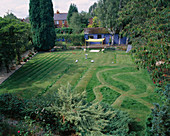 CHILDRENS SUMMER Party: THE LAWN PREPARED FOR Party with RUNNING TRACK, Silver BIRD BATH, GRASS MAZE AND Boules AREA