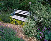 PALE Blue WOODEN SEAT IN DAVID AND MARIE CHASE'S Garden, Hampshire