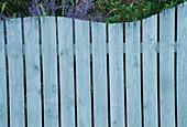 SEASIDE Garden: Blue WOODEN WAVE SHAPED FENCE. Designer: Mark LAURENCE