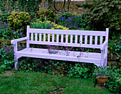PETTIFERS Garden, OXFORDSHIRE: Blue WOODEN BENCH