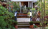 VIEW Along PATH TO DECKING, STEPS AND SCULPTURE by PAM FOLEY at THE GALAXIE Hotel, Oxford