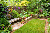 KATHY TAYLORS Garden, London: A PLACE TO SIT: BACK Garden with LAWN AND WOODEN BENCH / SEAT