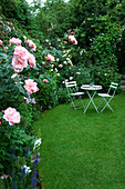 Amelia HEATH Garden, 1, CROSS VILLAS, SHROPSHIRE: THE SECRET Garden with LAWN, WOODEN TABLE AND CHAIRS AND ROSE Natalie
