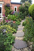 Amelia HEATH Garden, 1, CROSS VILLAS, SHROPSHIRE: Patio Beside HOUSE - WOODEN TABLE, CHAIRS, Pergola, LANTERN, GLADIOLUS COMMUNIS BYZANTINUS, ACONITUM, GRAVEL PATH, STEPPING STONES
