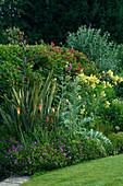 MARINERS Garden, BERKSHIRE. Designer FENJA ANDERSON - HERBACEOUS BORDER - PHORMIUM TENAX, Cynara CARDUNCULUS, THALICTRUM FLAVUM, KNIPHOFIA, GERANIUM sanguineum, BUDDLEJA LOCHINCH