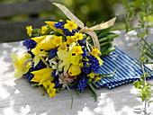 Blau-gelber Frühlingsstrauß : Muscari (Traubenhyazinthen), Tulipa (Tulpen)