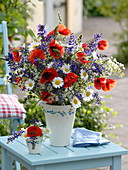 Wiesenblumenstrauß : Papaver rhoeas (Klatschmohn), Salvia pratensis