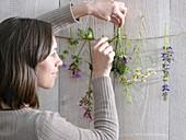 Frau hängt Blüten für ein hängendes Tableau über eine Schnur
