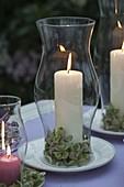 Abendterrasse : Tischdeko mit Windlichtern