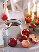 Tee aus Äpfeln (Malus), Äpfel als Kerzenhalter